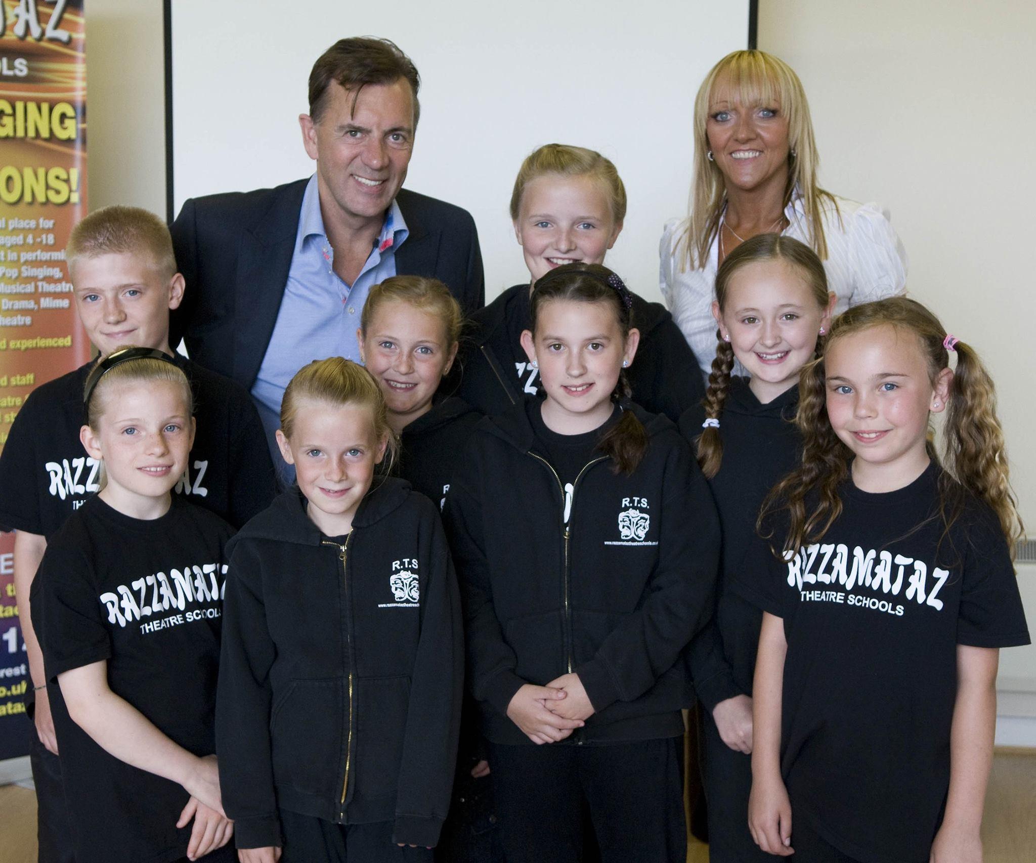 Duncan Bannatyne and Denise with Razzamataz students